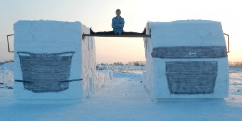 Siberian man repeated the Van Damme trick with two trucks, made of snow, or course :)